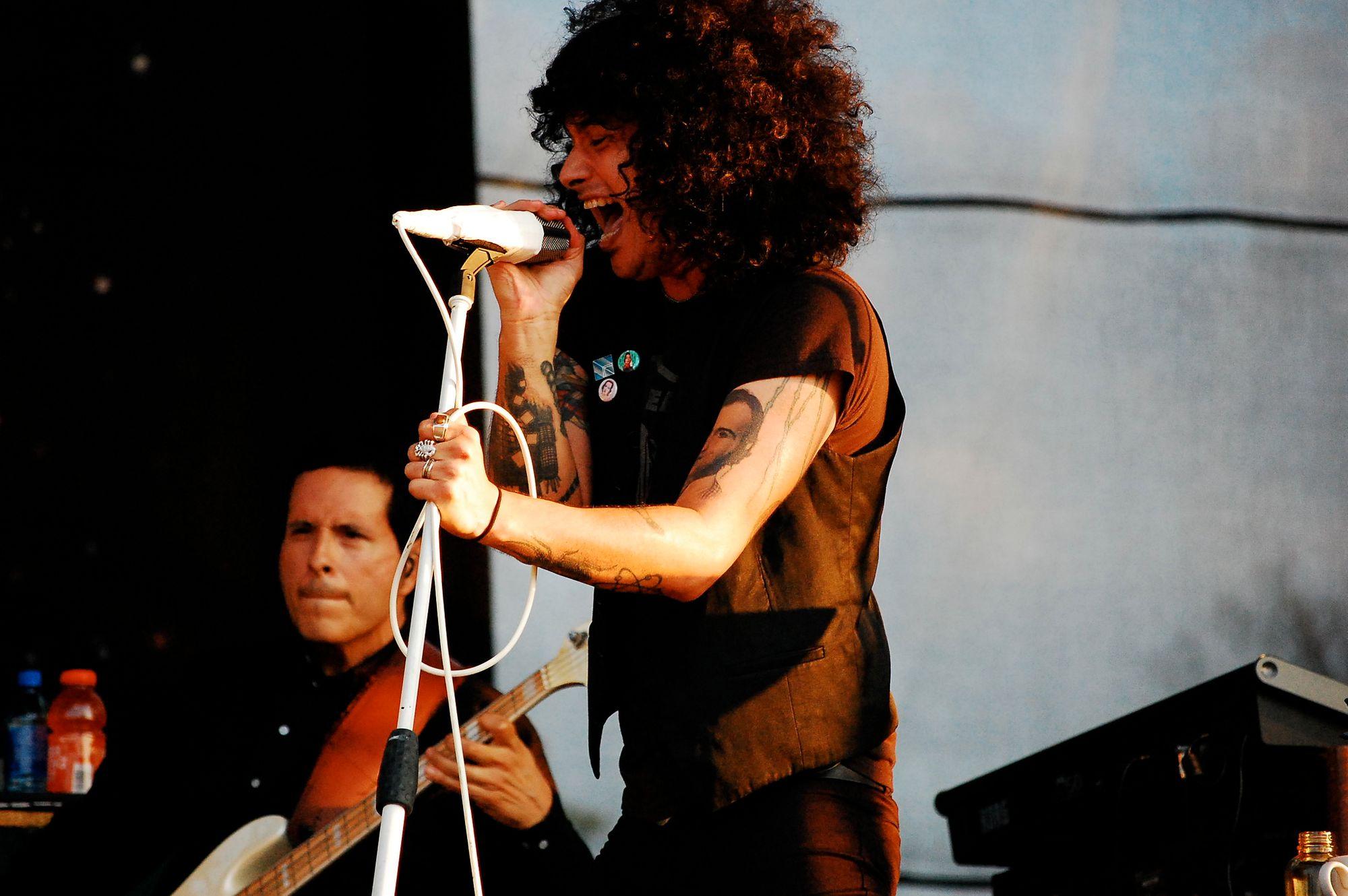 The singer for the Mars Volta, Cedric Bixler-Zavala, at Bonnaroo in 2009
